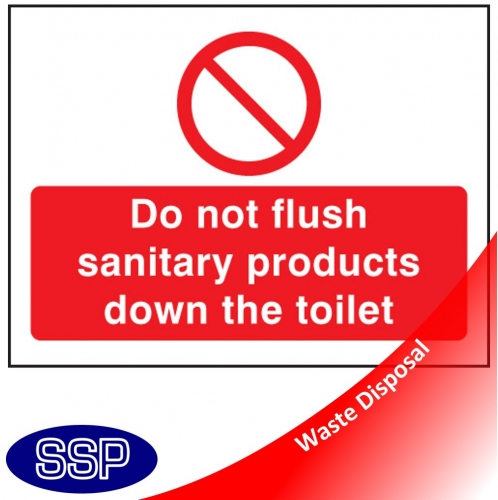 Do not flush sanitary products in toilet sign ssp print factory for Do not flush signs for bathroom