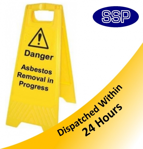 Asbestos Removal Progress Yellow Folding Sign Ssp