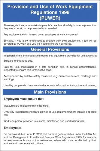 Puwer Regulations Safety Poster Ssp Print Factory