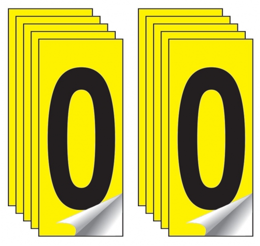 Identification Numbers Single Number 10 Packs Yellow