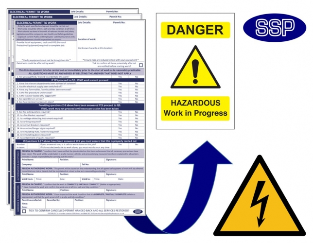 Electrical Permits To Work   Next Day Delivery From SSP
