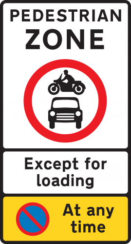Pedestrian Zone Except For Loading Sign Ssp Print Factory