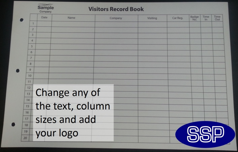 Personalised Visitor Record Book And Fire Register Ssp