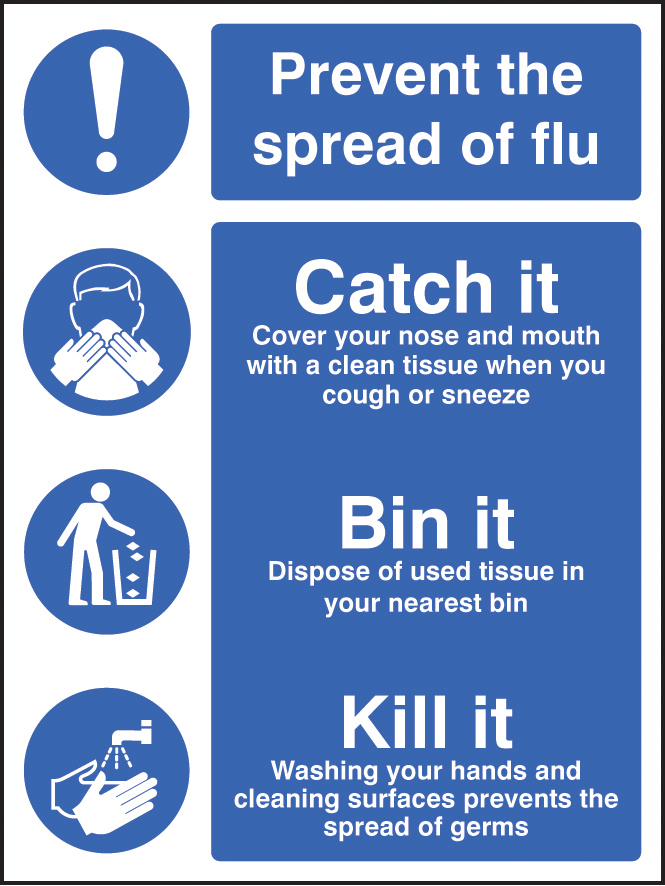 Prevent The Spread Of Flu Catch It Signs Ssp Print Factory