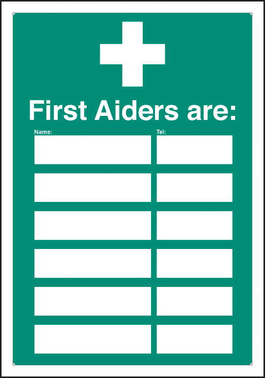 First Aiders Are Editable Sign Ssp Print Factory