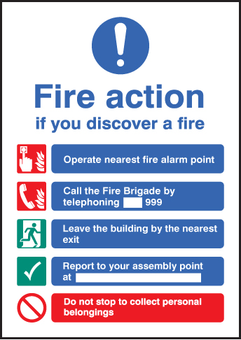 Fire Action Sign A5 Ssp Print Factory
