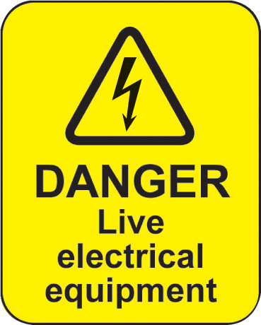 Danger Live Electrical Equipment 100 Stickers Ssp