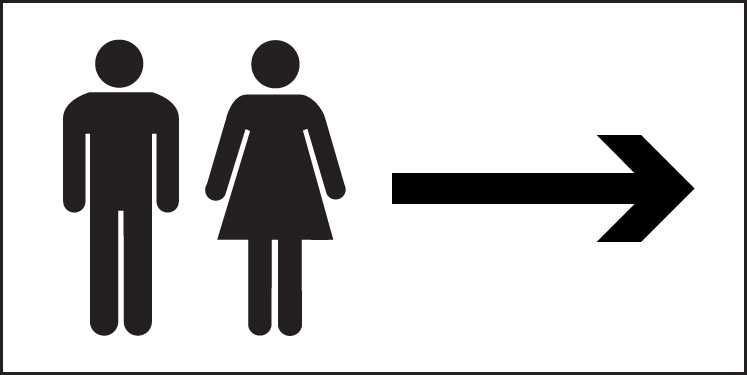 Man and ladies symbol with arrow right Sign. Gents  Ladies and Toilet Signs   SSPPrintFactory co uk