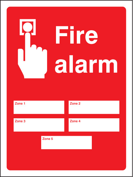 Fire Alarm Zones Sign 5 Or 10 Zones Ssp Print Factory