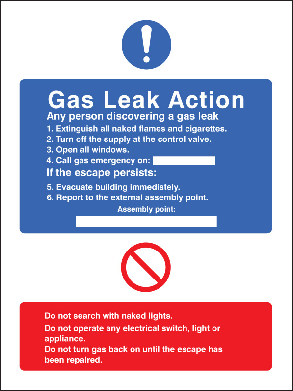 Gas Leak Action Sign Ssp Print Factory