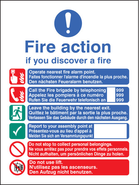 Fire Action English French German Manual Dial Sign Ssp