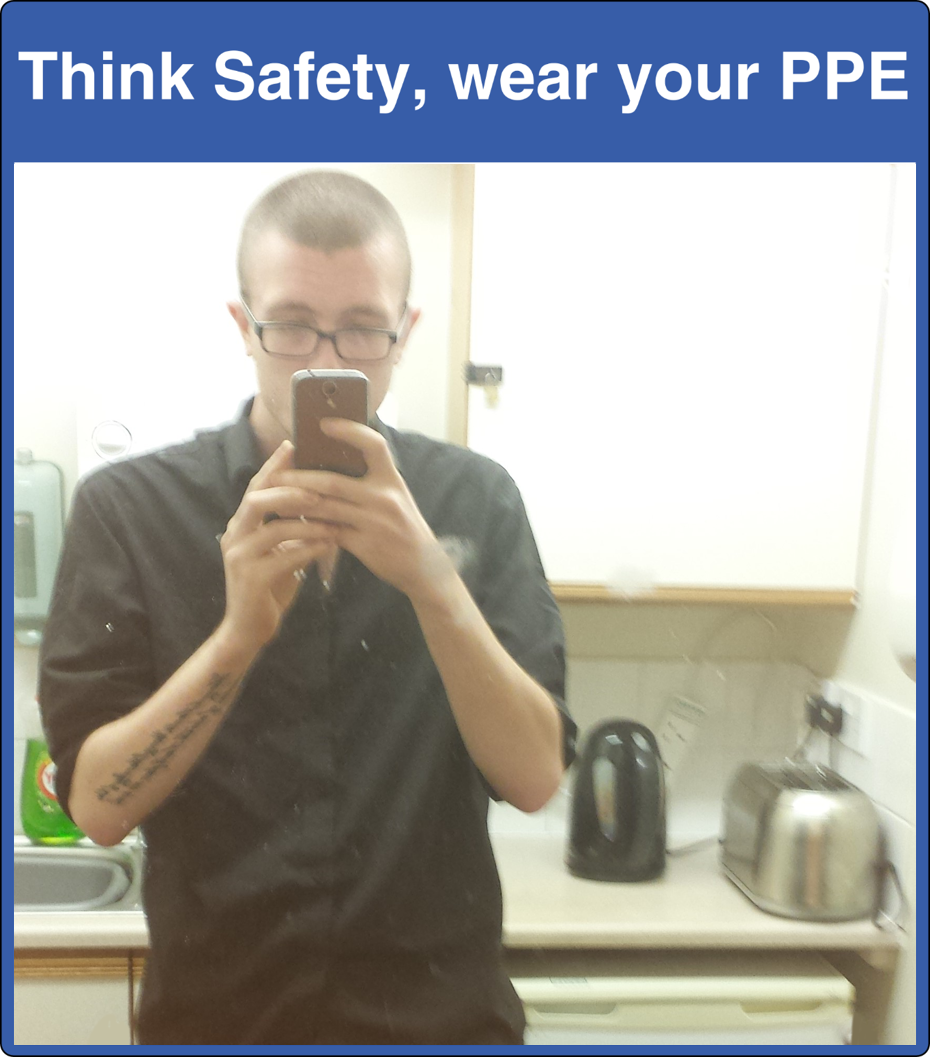 Think Safety, Wear Your PPE Mirror Sign