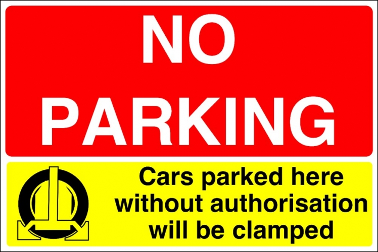 No Parking Clamping Sign