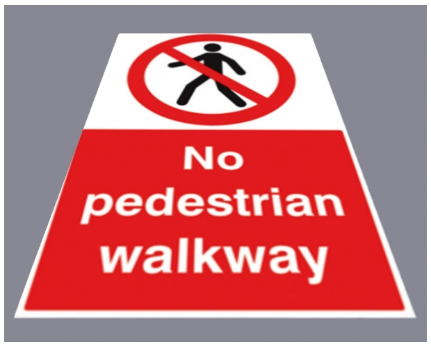 No pedestrian walkway floor graphic