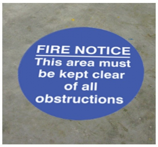 Fire notice this area etc... floor graphic