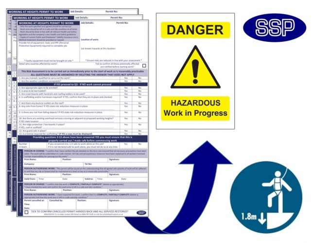 Working at heights permits next day delivery from ssp for Working at height permit to work template