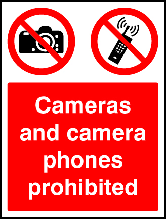 Cameras And Camera Phones Prohibited Sign Ssp Print Factory