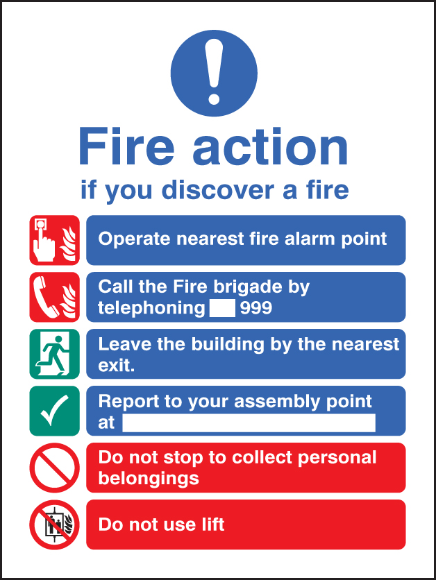 Fire Action Eec Manual 999 Adhesive Backed Sign Ssp