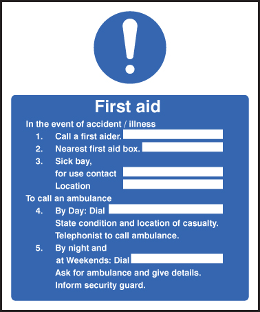 First Aid Accident Illness Sign Ssp Print Factory