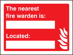 The Nearest Fire Warden Is (name) Located (place) Sign