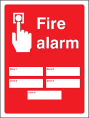 Fire Alarm Zones Sign (5 or 10 zones)