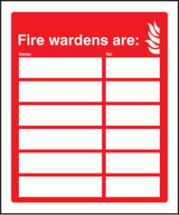 Fire Wardens Are (Name) Tel (Number) Signs
