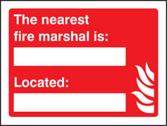 The nearest fire marshall is sign