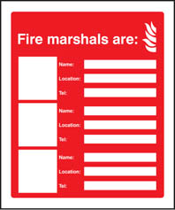 Fire Marshals Are (3 Names, Locations & Numbers) Sign