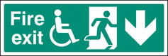 Fire exit (running man disabled symbol arrow down) Sign