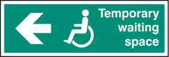 Temporary waiting space arrow left Sign