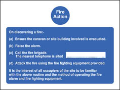 Fire Action - Caravan Sign