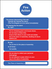 Fire Action Residential Care Homes Sign