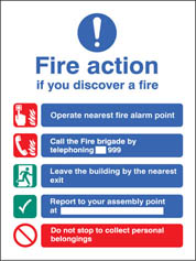 Fire Action Manual Dial (Without Lift) Sign