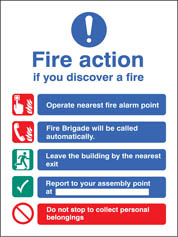 Fire Action Auto Dial (Without Lift) Sign