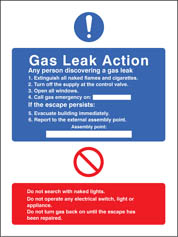Gas Leak Action Sign