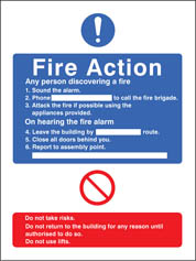 General Fire Action With Lift Sign