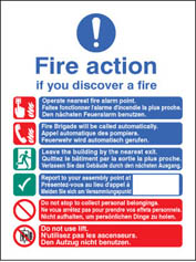 Multi-Lingual Fire Action Auto With Lift Sign