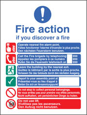 Multi-Lingual Fire Action Manual Lift Sign