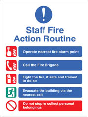 Staff Fire Action Routine Sign