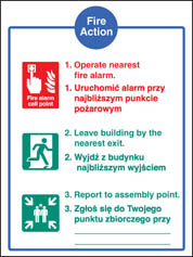 Fire action auto dial without lift (English Polish) Sign