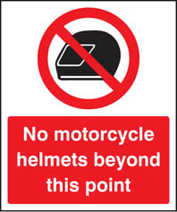 No Helmets Sign