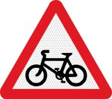 Cycle route ahead road sign 950