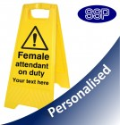 Personalised Female Attendant On Duty Folding Sign