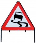 Slippery Surface Triangle Temporary Road Sign With Metal Frame 557