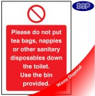 Please do not put tea bags etc sign