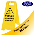 Female Attendant On Duty Folding sign