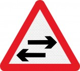 Two way traffic crossing ahead road sign 522