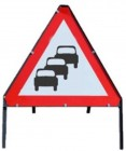Queues Likely Temporary Road Sign With Metal Frame 584