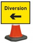 Diversion Left Cone Sign 2702