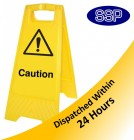 Caution Yellow Freestanding sign